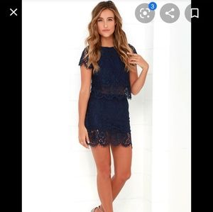 Lulus turn back time navy lace two piece set xs